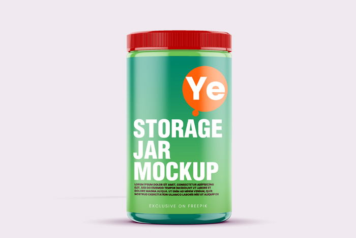Storage Plastic Glossy Jar Mockup