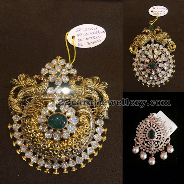 Diamond Pendants with Nakshi Work