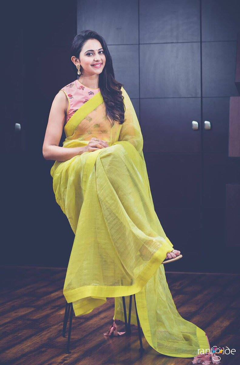 Rakul Preet Singh Hot Photos Shoot In Yellow Sari 2017