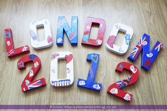 London 2012 Decoupage Letters for an #Olympics Party at The Purple Pumpkin Blog