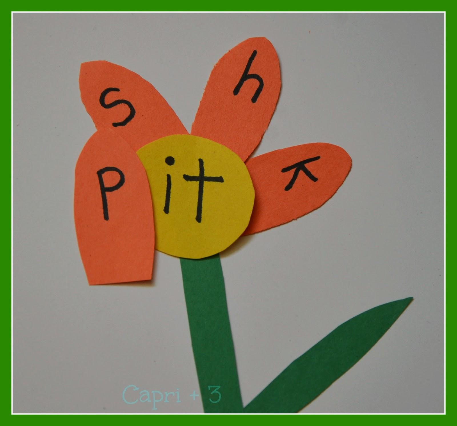 Ending Word Sounds Flower Activity - Capri + 3