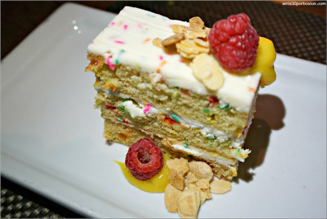 Confetti Cake: Passionfruit curd, fresh raspberries, sweet & salty almonds
