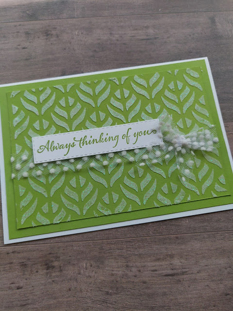 Granny Apple Green Stampin' Up card Very Versailles embossing paste