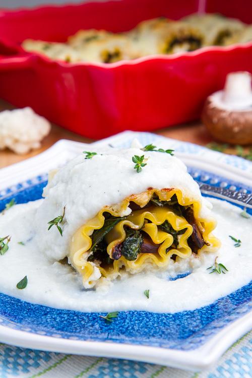 ★★★★★ |   Mushroom Lasagna Roll Ups in Creamy Gorgonzola Cauliflower Sauce