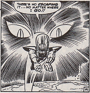 Fantastic Four #94, the Wizard flees a giant pair of cat eyes