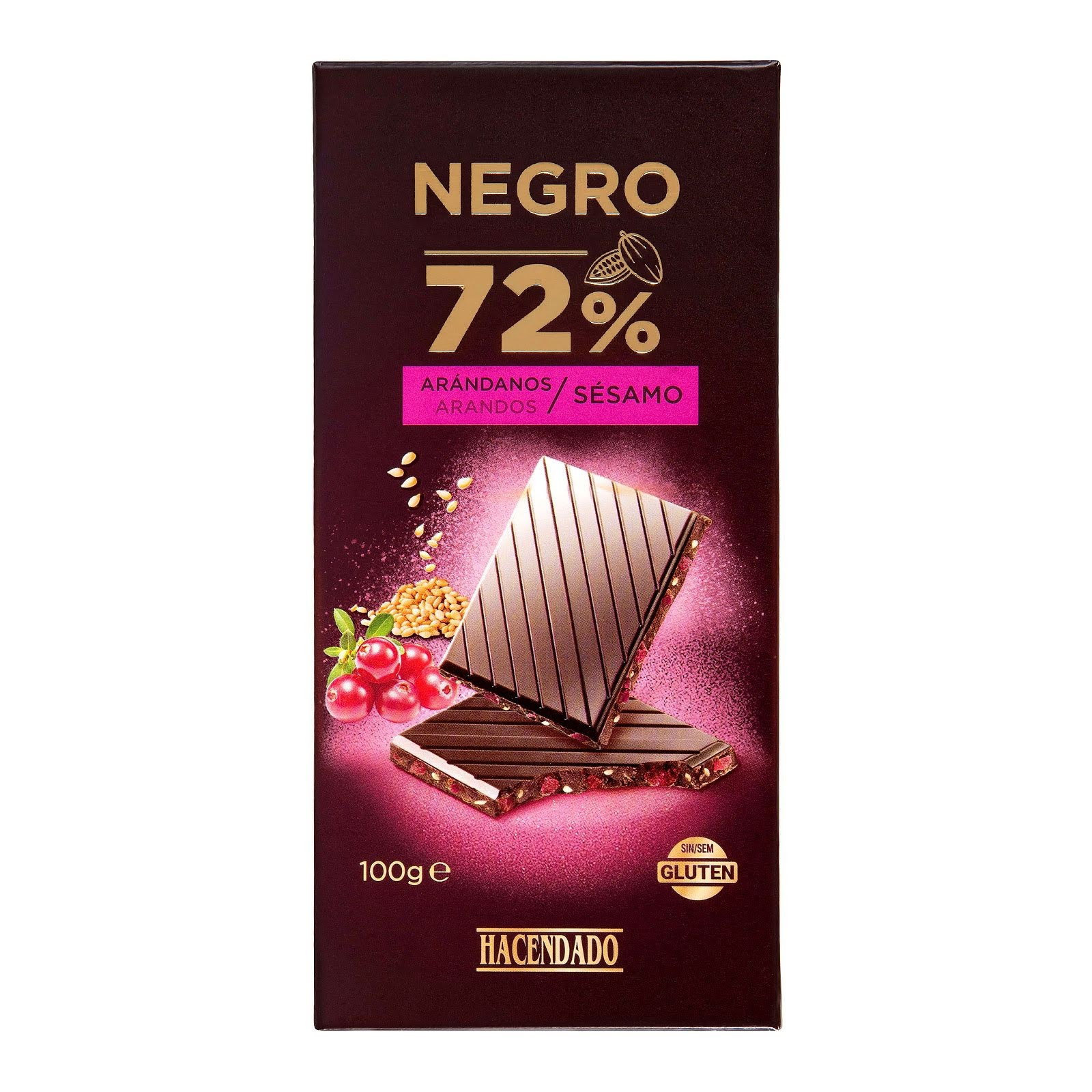 Chocolate negro extrafino 72% de cacao con arándanos y sésamo Hacendado