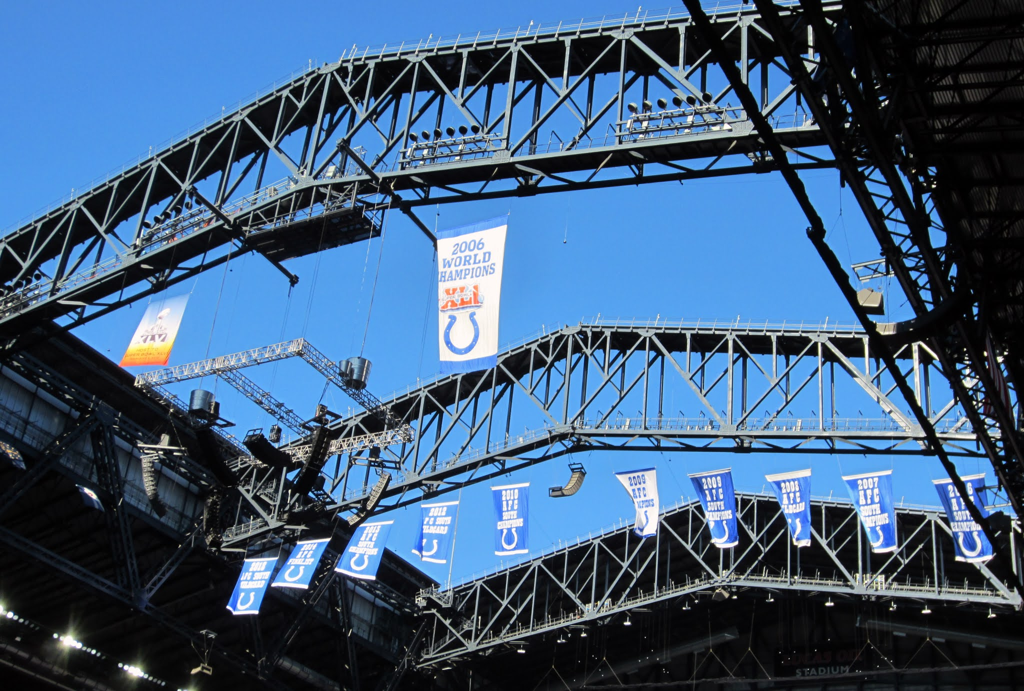 Banners hung in the rafters of Lucas Oil Stadium