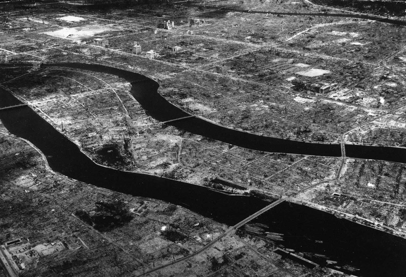 An aerial view of Hiroshima, some time after the atom bomb was dropped on this Japanese city. Compare this with pre-war photo number 5 above.
