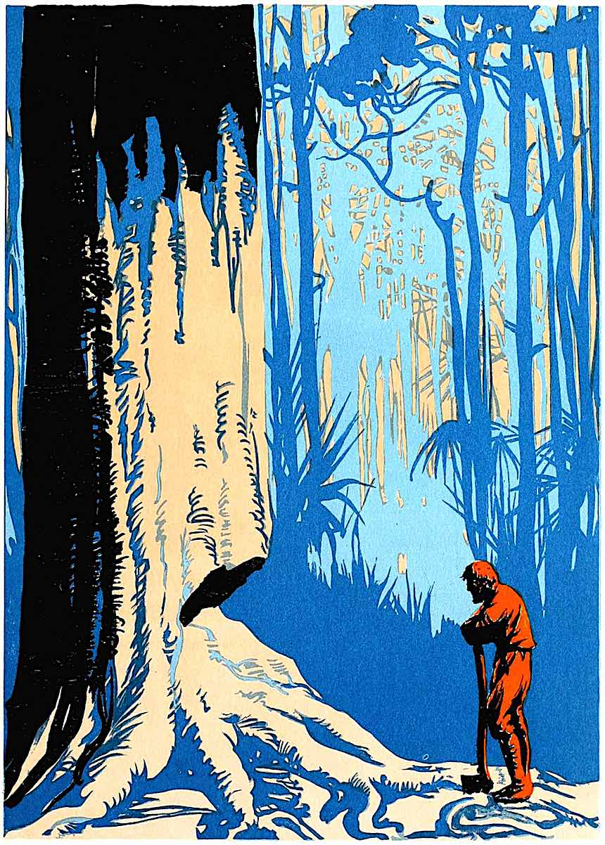 EA Verpilleux, Robinson Crusoe 1931, man against tree