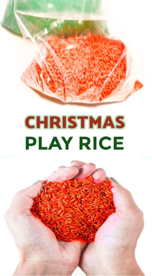 Rice makes a great play material for kids.  It is less messy than sand and SO easy to make! #christmasrice #christmassensorybin #christmasscentedrice #dyedrice #playriceforkids #howtomakecoloredrice #growingajeweledrose #activitiesforkids