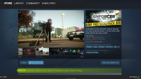 Store Page in STEAM, Enforcer: Police Crime Action
