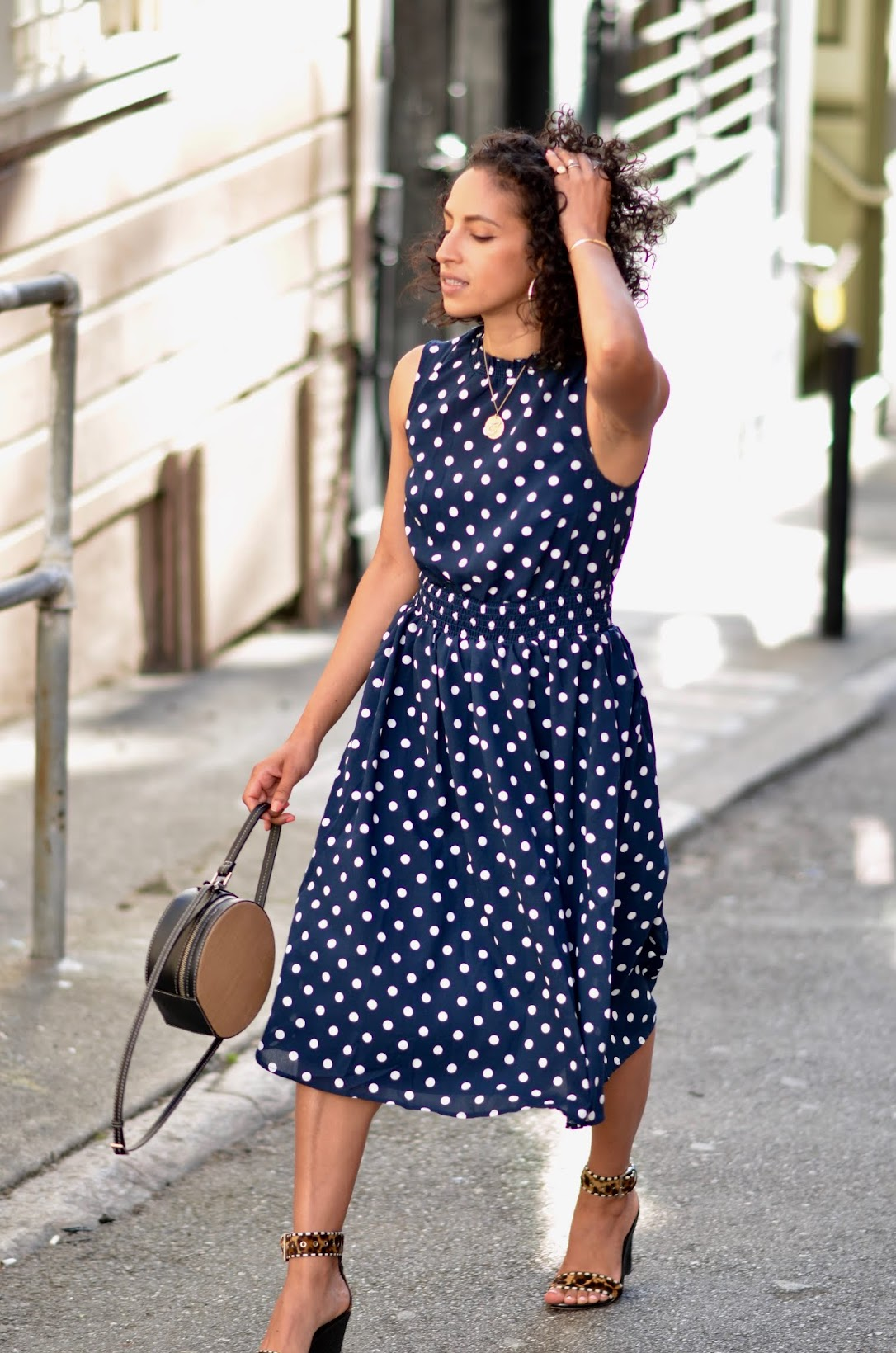 ModCloth navy and white polka dot dress, navy and white polka dot dress, polka dot dress, short curly hair bob, new haircut for summer, coin necklaces trend, B by Brian Atwood wedges
