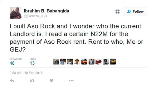 2016 Budget: Former Military Ruler, Babangida Responds to Claims of 'Aso Rock Landlord'