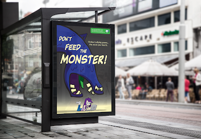 Cartoon style illustration of a monster for a bus stop advertising campaign.