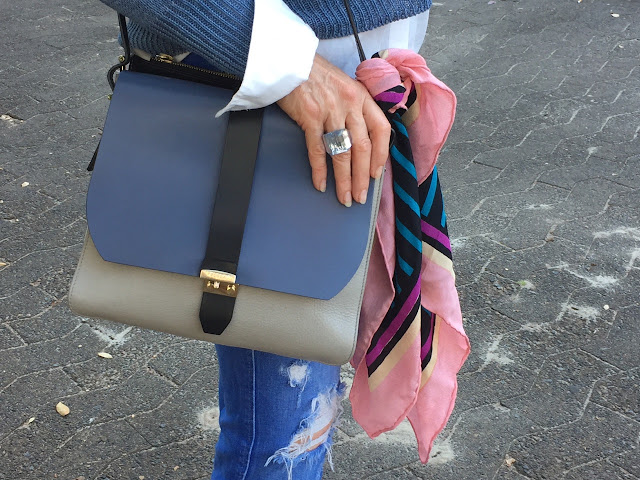 raw hem ripped jeans, Furla messenger bag, Sonia Rykiel scarf