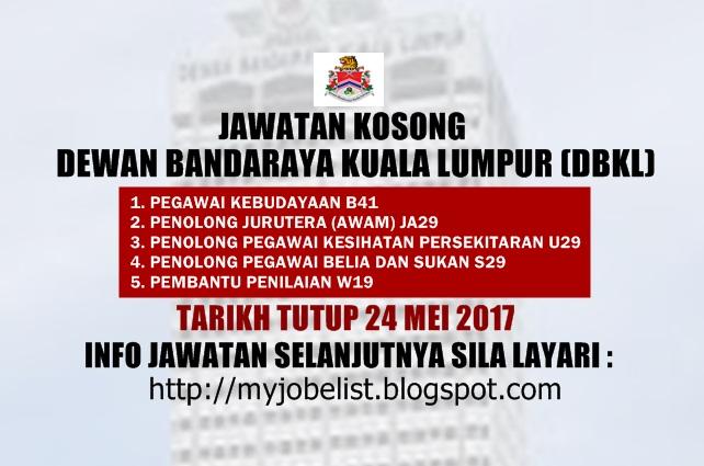 Jawatan Kosong Dewan Bandaraya Kuala Lumpur (DBKL) Mei 2017