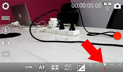 التحكم في نسبة الاضاءة على واجهة تطبيق الكاميرا