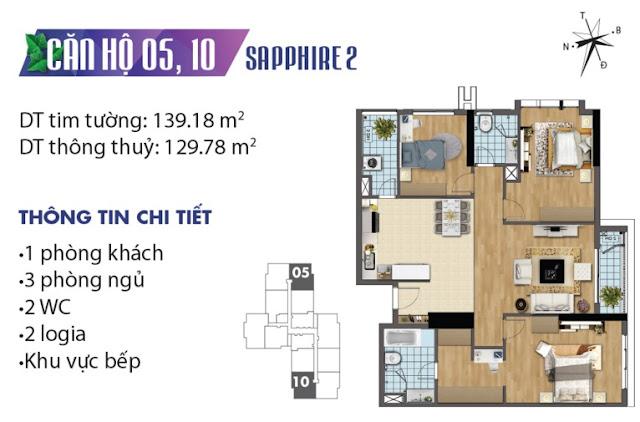 Thiết kế căn hộ số 5 và 10 tòa Sapphire 2