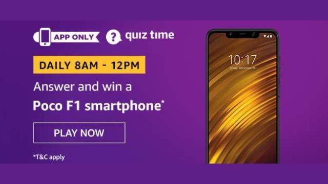 Amazon Quiz Answers Today 8 December win - Poco F1 Smartphone