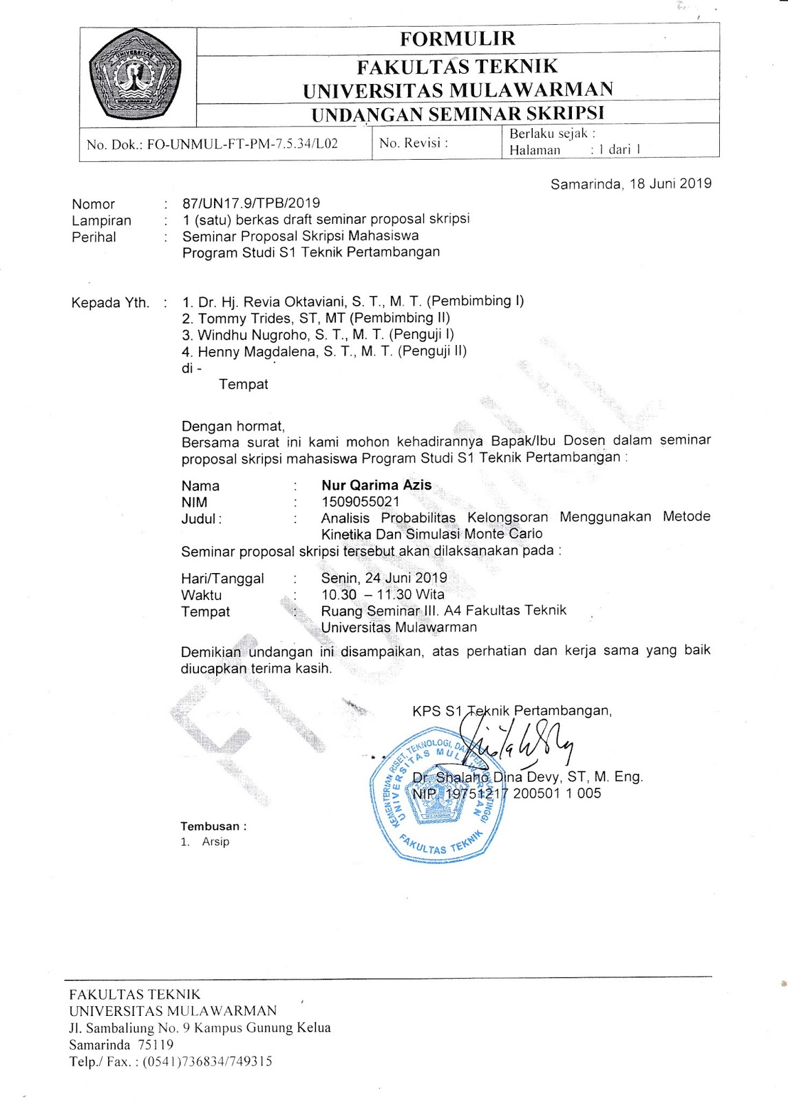 Seminar Proposal Skripsi Nur Qarima Azis 1509055021 Senin 24 Juni 2019 S1 Teknik Pertambangan Universitas Mulawarman