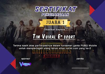 Download Mentahan Contoh Sertifikat Turnamen PUBG Mobile Keren
