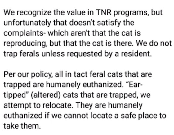 Brooklyn and Parma Hts Animal Control policy on feral cats introduced without consultation