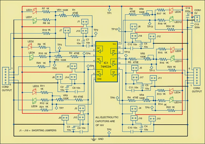 Tester for 74xx04 and 74xx14 ICs Circuit Diagram