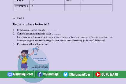 Soal UH / PH Kelas 5 Tema 3 Kurikulum 2013 Revisi Tahun 2019