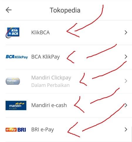 Pilihan Metode Pembayaran Internet Banking Tokopedia