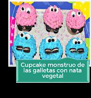 CUPCAKE MONSTRUO DE LAS GALLETAS CON NATA VEGETAL