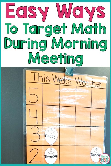 Morning meeting is one of my favorite times of the day. There is SOOO many skills you can incorporate into morning meeting. One of the easiest domains to target is math. Here are a few EASY ways to add math into your morning meeting.