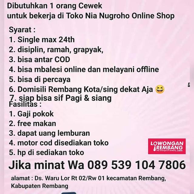 Lowongan Kerja Pegawai Toko Nia Nugroho Online Shop Rembang Tanpa Syarat Pendidikan