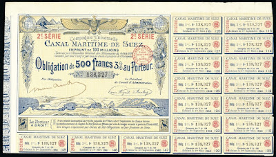 Suez Canal bond from 1885 showing map, sphinx and pyramids
