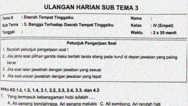 Soal Penilaian Harian Kelas 4 Tema 8 Subtema 3