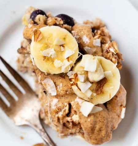Blueberry Banana Protein Baked Oatmeal