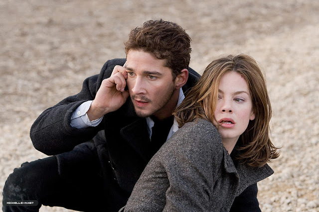 'EAGLE EYE' (2008). Shia LeBeouf stars as a down-on-his-luck man who is used by a villain to set into motion a chain reaction. Text © Rissi JC