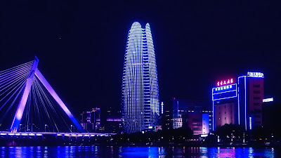Wallpaper of night city, bridge, buildings, without sea