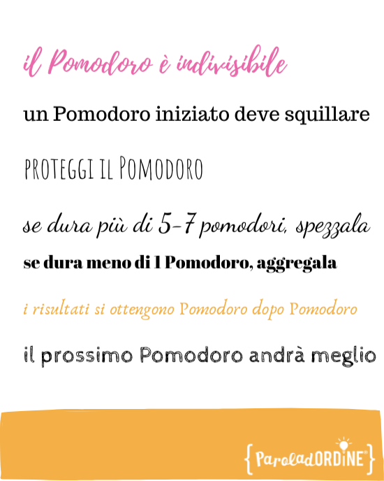 Paroladordine la <tecnica del Pomodoro regole professional organizer