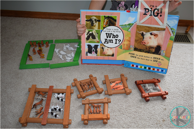 counting and sorting farm animals f is for farm letter of the week activity for preschool, prek, kindergarten
