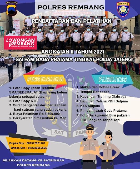 Pendaftaran Diklat Satpam Gada Pratama Angkatan II Tahun 2021 Satbinmas Polres Rembang
