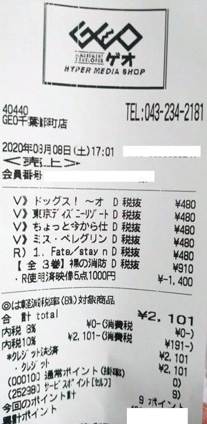 GEO ゲオ 千葉都町店 2020/8/8 のレシート