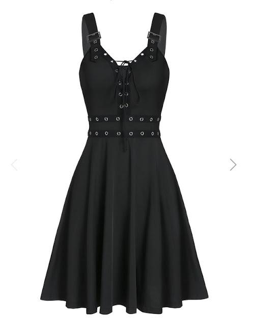 vestido negro gotico con cordones