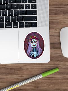 day of the dead catrina skull sticker