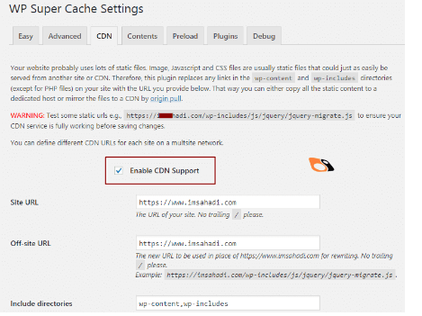 settings CDN wp super cache