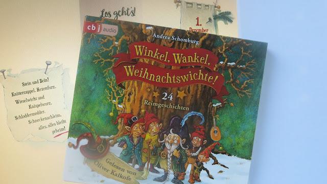 """CD des Hörbuchs """"Winkel, Wankel, Weihnachtswichte!"""" vor Bildschirmfoto mit Leseprobe aus dem Kinderbuch"""