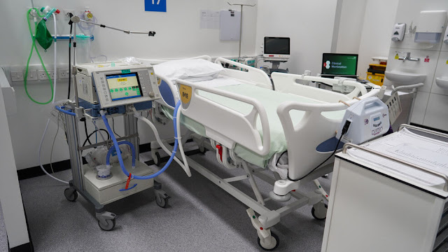 ICU bed with all its equipment photo