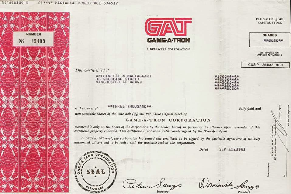 share certificate of the Game-A-Tron Corporation