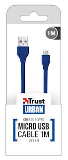 TRUST CAVO PIATTO BLU MICRO USB 1 METRO 20136