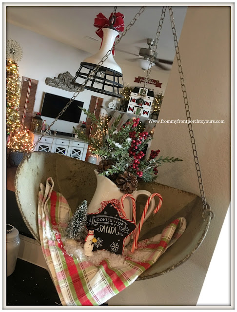 Farmhouse Christmas Decorations-Kitchen-Vignette-Vintage Scale-French Country-Cottage Christmas- From My Front Porch To Yours