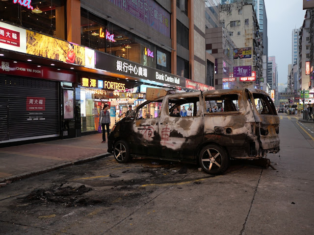 burned vehicle in Mong Kok